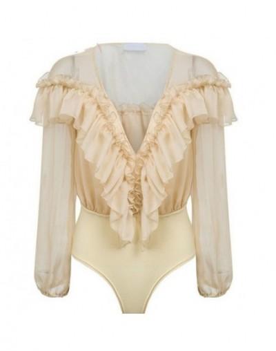 Autumn Sexy Deep v neck elegant fashion ruffles women bodysuit shirt Vintage long sleeve bodysuit ladies playsuit - Beige - ...