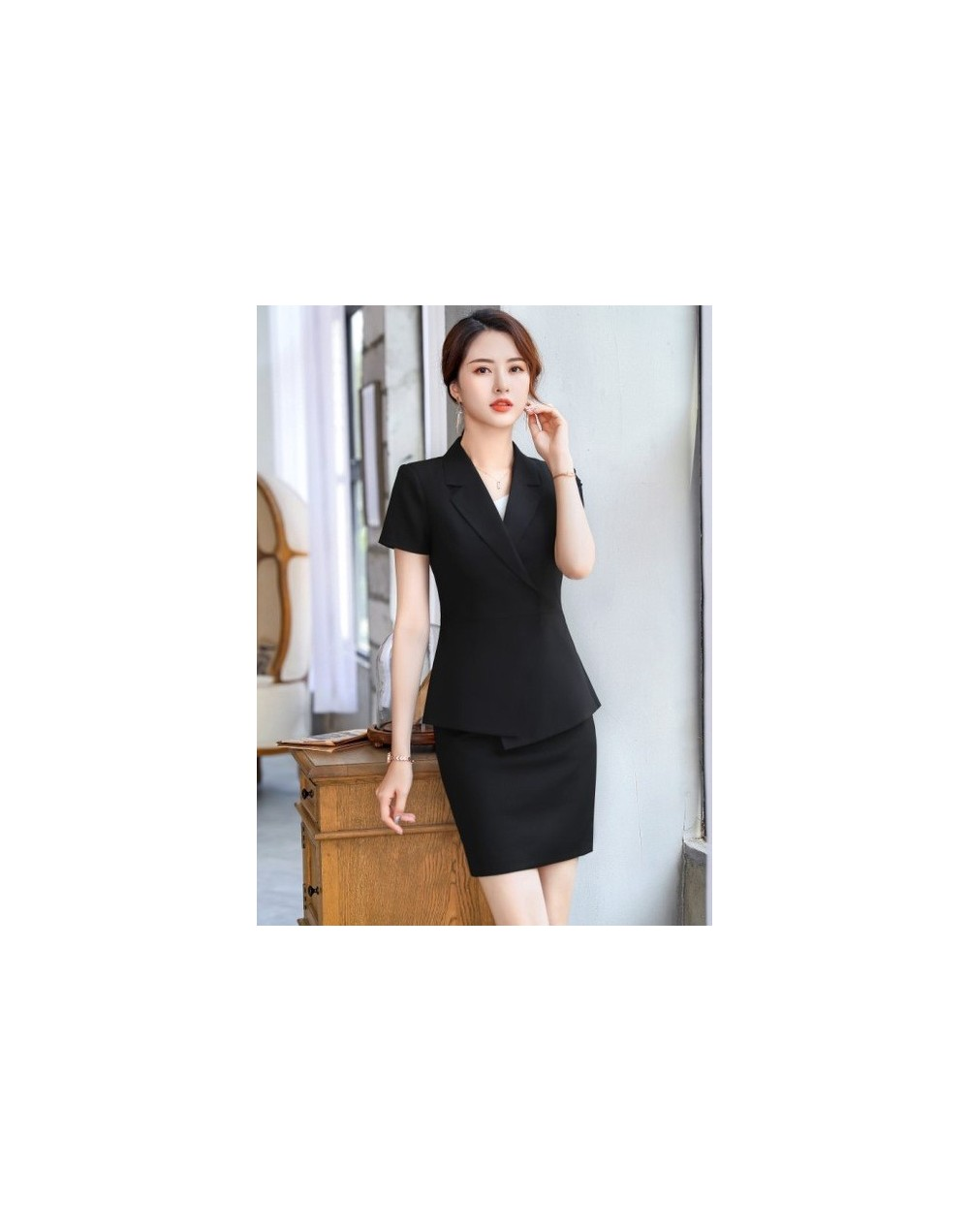 Fashion Elegant women summer skirt suits casual white black temperament short sleeve blazer and skirt office ladies formal s...