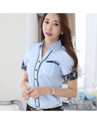 Elegant Shirt Women Clothes 2019 New Short Sleeve White Blue Lace Blouse Tops Office Ladies Work Wear Blusas Femininas - Blu...