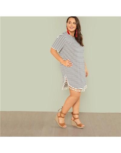 Black and White Stripe Plus Size Straight Casual Mini Dress Women Summer Tassel Embellished Curved Hem Short Dresses - Black...