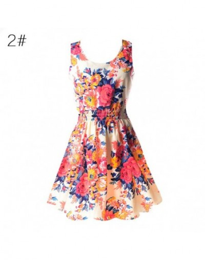 Women Sexy Chiffon Dress Sleeveless Sundress Beach Floral Tank Mini Dresses Vestido - 2 - 433921879221-2