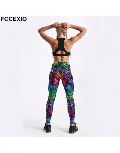 Women Workout Leggings High Waist Fitness Legging Colored Feathers Print Leggins Female Leg Pants Large Size Leggings - 4103...