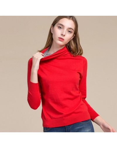 Women Pullovers 85%Silk 15%Cashmere knitted Soft sweaters Turtleneck pullover 2018 FALL Winter Bottoming knit shirt Black Gr...