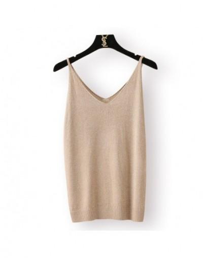 New 2018 Summer Vest Women flash silk sexy Slim Bottoming V-Neck knitting solid sling Sleeveless female Camis LX890 - khaki ...