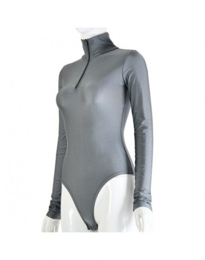 2019 New Fashion Women Sexy Summer Autumn Bodysuit Skinny Long Sleeve Solid Jumpsuit High Neck Club Zipper Bodysuit Overalls...