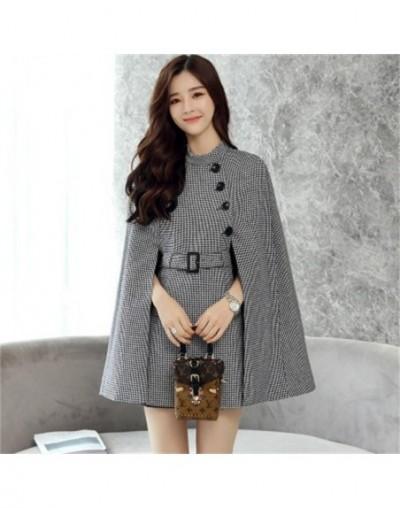 Fashion Plaid coat female Jacket Autumn Women's New British style Cloak Woolen Jacket Fashion Cape Coat Female Casual Blazer...