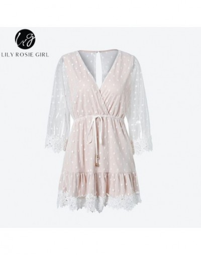 Lily Rosie Girl White Lace Dot Women Mini Dresses Summer Sexy V Neck Party Beach Mesh Dress Backless Flare Sleeve Vestidos -...