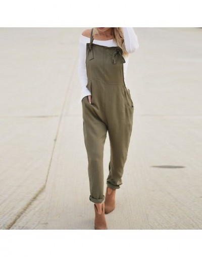 2019 Summer Women Strappy Solid Pockets Long Pencil Pants Jumpsuits Casual Work Rompers Dungarees Bib Overalls Plus Size - A...