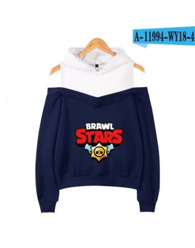 2019 GAME BRAWL STARS Hooded Sweatshirt printing Women's hip hop casual long-sleeved off-shoulder Hoodies Plus size - M - 4U...