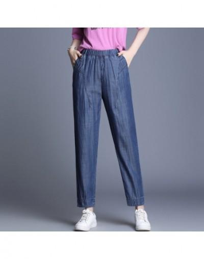 Loose Tencel Jeans Women 2019 Summer Cool High Waist Jeans Woman Blue Denim Harem Pants Elastic Waist Grils Jeans Plus Size ...