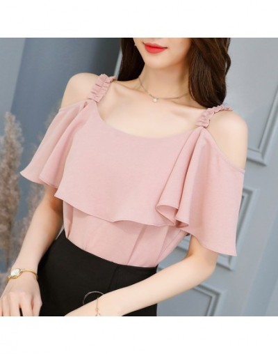 2018 new fashion custom color women's shirt short-sleeved lace chiffon shirt ruffled cute summer top KN36 - KN38 - 4L3093411...