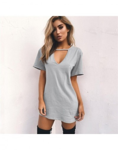 Women Summer T-Shirt 2019 Casual Loose Short Sleeve TShirts Sexy V-Neck Cotton Tee Shirt Femme Pure Ladies Long Tops Plus Si...
