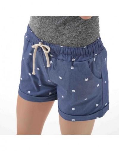 Short Feminino Cat Head Printed High Waist Shorts Women Summer Elastic Waits Short Pants Female Sport Hot Pants - jeanblue -...