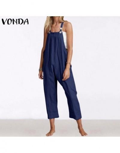 Plus Size Women Casual Rompers 2019 Spagetti Strap Jumpsuits Vintage Solid Playsuits Wide Leg Pants Female Pantalon S-5XL - ...