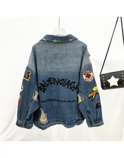 BF Design Punk Style Long Sleeve Coat Women Holes Cardigan Plus Size Loose Batwing Sleeve Outerwear - Blue - 4Q4110817786-2