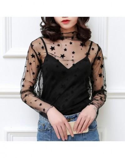Women Black Dot Star Tank Top Harajuku Tops Sexy Cute Mesh Net See Through T Shirt Girls Spring Summer Lace Blouse - star - ...