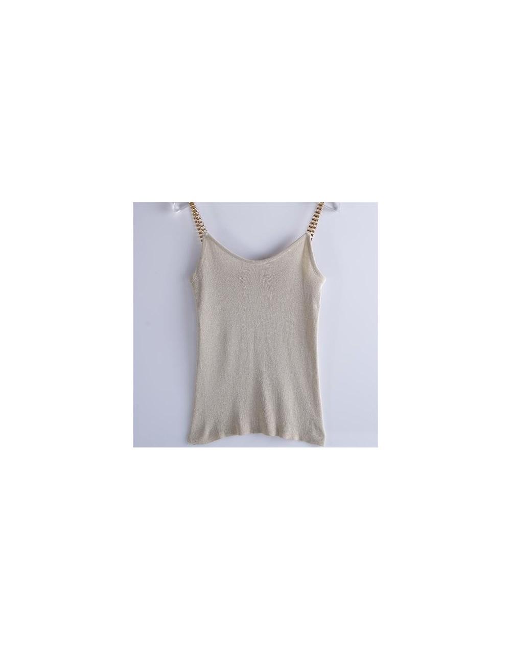 New summer Women Glitter Tank Tops Female V-Neck Knitted Camisole Sleeveless Bling tops Sexy joker solid Vest - Beige - 4U41...