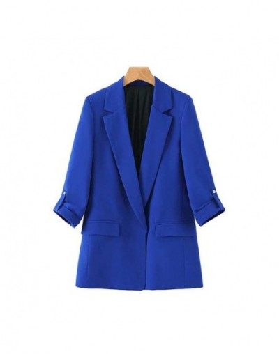 Vintage Stylish Office Lady Open Stitch Blazers Coat Women 2019 Fashion Notched Collar Three Quarter Sleeve Outerwear Chaque...