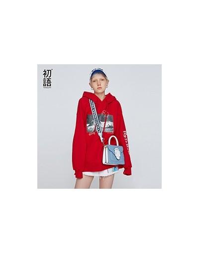 Women Loose Sweatshirt Hooded Short Sweatshirt Long Sleeve O-Neck Tracksuit Oversized Casual Winter Pullovers Mujer - Red - ...