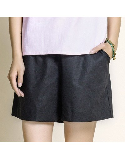Cotton Linen Elastic Waist Women Shorts Candy Colors Loose Casual Shorts Plus size Women Vintage Shorts Wide Leg Shorts - Bl...