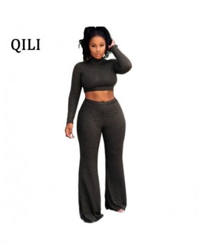 Pit Striped Two Piece Set Jumpsuits Women Long Sleeve Wide Leg Jumpsuit Short Top+Pants 2 Piece Casual Jumpsuits Autumn - Bl...