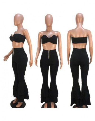 Sexy 2 Piece Set Women Strapless Solid Crop Top And Flare Pants Set Summer Two Piece Matching Set Women Set - Black - 5R1112...
