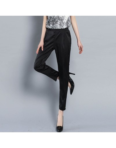 Spring and summer new silk thin section casual pants women's formal office work pants 4 color plus size code ladies pants LF...
