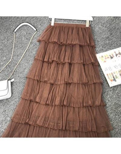 Long Adult Tulle Skirt Women 2019 Summer New Korean Pleated Elegant High Waist Skirt Maxi A-line Pink Black Sun Skirt - Brow...
