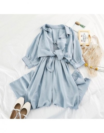 Summer Loose Short Sunscreen Jacket + Suspending Rompers Women 2pcs Casual Clothing Set Female Summer Holidays Suit - Sky Bl...