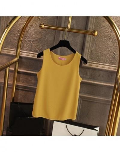 Women Shirt 2019 New arrival sleeveless Chiffon Blouse Summer Casual O-Neck Blouses High Quality Women's blouse - Turmeric -...