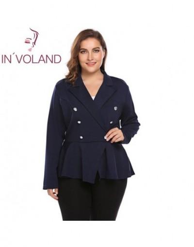 Plus Size Women Blazer Suit XL-5XL Autumn Winter Casual Lapel Long Sleeve One Button Large Outwear Jacket Big Size - Dark Bl...