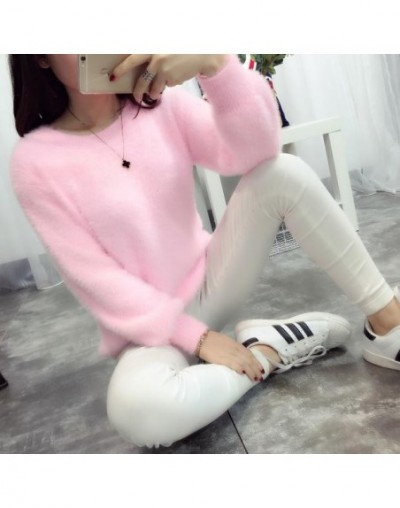 2018 Winter Casual Sweater Women Long Sleeve Loose Thick Turtleneck Pullovers Female Solid Mohair Girl Sweater Coat - Pink -...