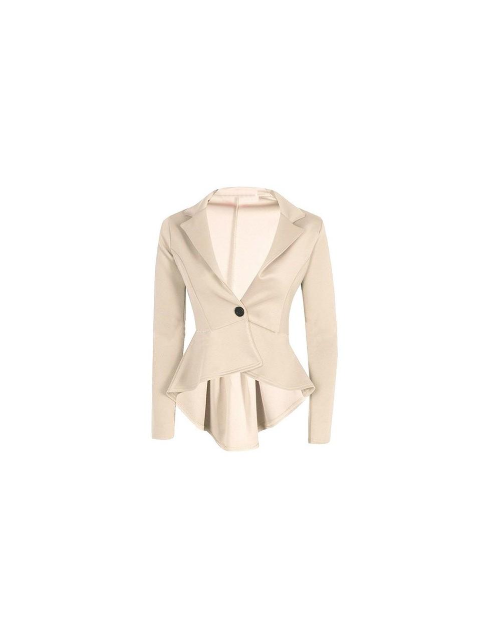 blazer women fashion cropped Blazer Jacket Outwear 2019 blazer mujer Slim Fit Peplum women suits d90523 - Beige - 4641329470...
