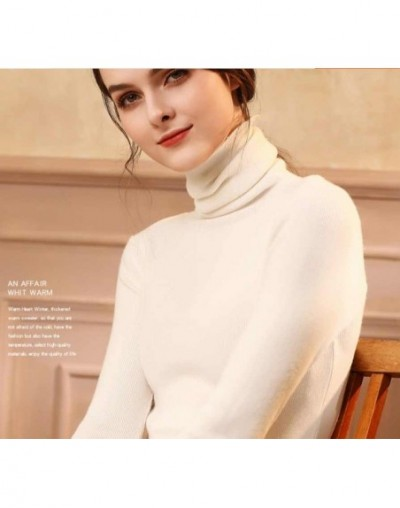 High Quality Autumn Winter Warm Women Sweater Thick Turtleneck Pullover Sweater Fashion Rib Knitted Female Jumper Top - Whit...