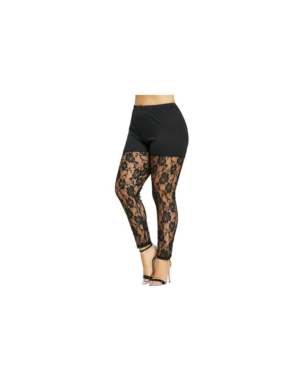 Plus Size 5XL High Waist Black Sexy Floral Lace Sheer Legging Women Skinny See Through Mesh Pants Capri Big Size 2018 - Blac...