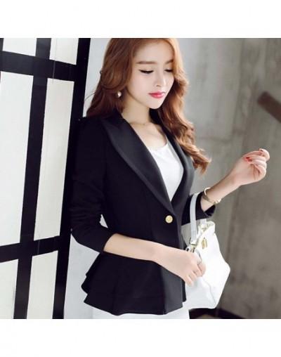 Women Blue Blazer Coats Slim Long Sleeve One Button Ruffle Jacket Blazer Tops Female OL Blazer WDC1898 - Black - 4E3091258147-1