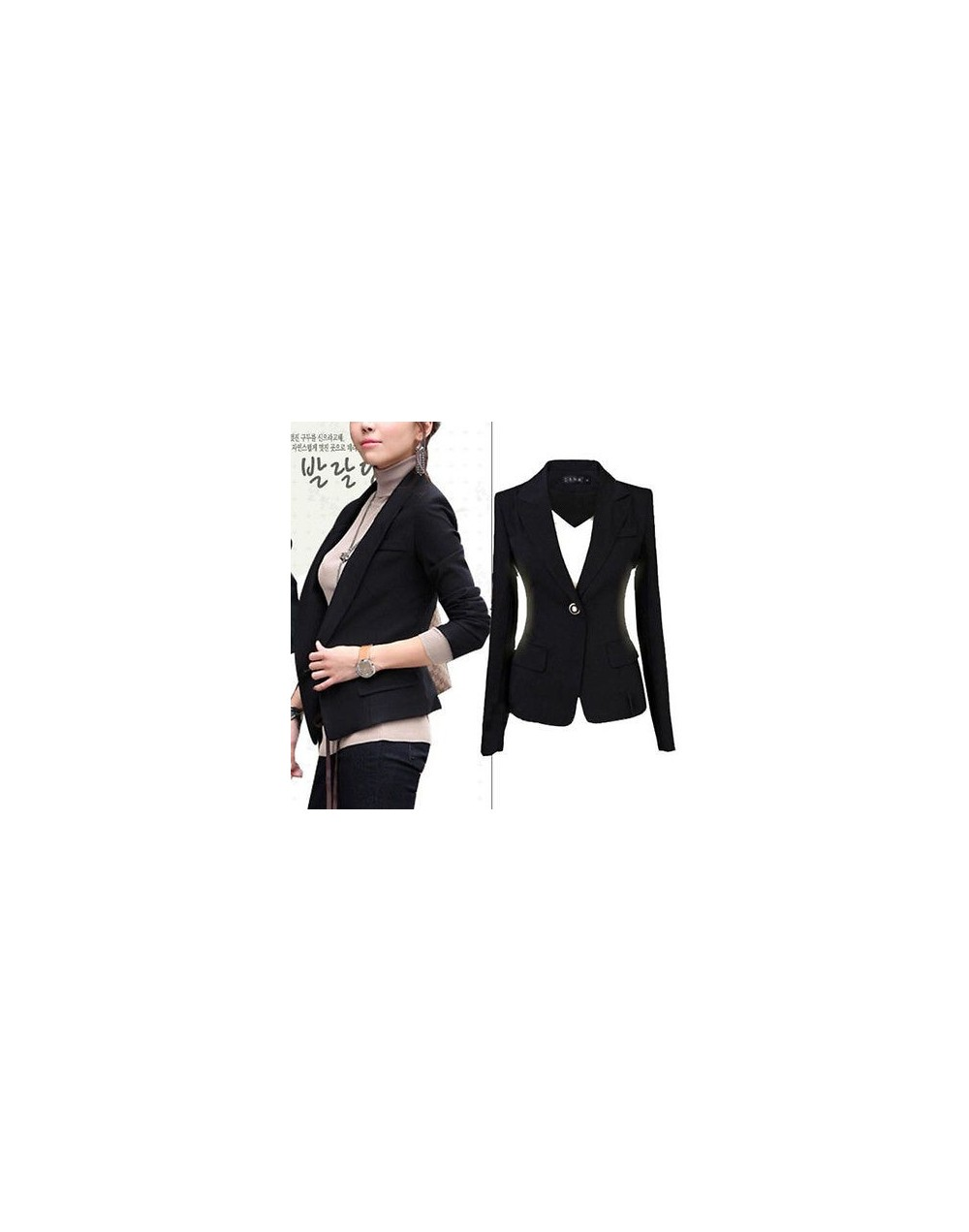 2019 fashion single button solid full sleeve New Womens Lapel Suit One Button Tunic Long Sleeve Blazer Jacket Size 6-22 - Bl...