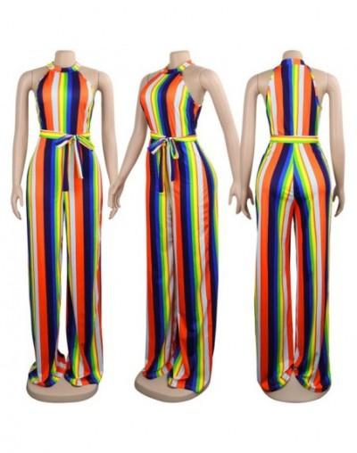 Sexy Off Shoulder Wide Leg Jumpsuit Women Elegant Vintage Romper Striped Printed Long Off Shoulder Playsuit One Piece Overal...