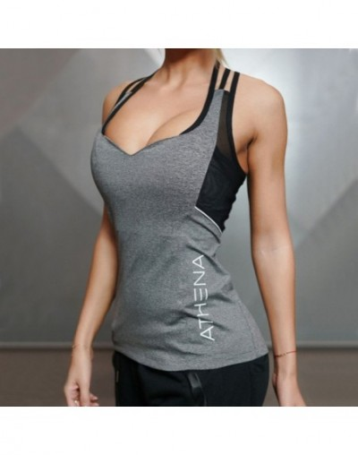 Sexy Women's Fitness Tank Tops High Elastic Breathable Wicking Dry Quick Harness T-Shirts For Women - Gray - 4R3958592740