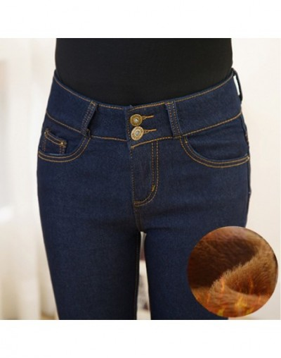Oversized Winter Warm Jeans Pants For Women Gold Fleeces Thickening Hot Denim Pants High Waist Mom Jean Trousers Female P910...