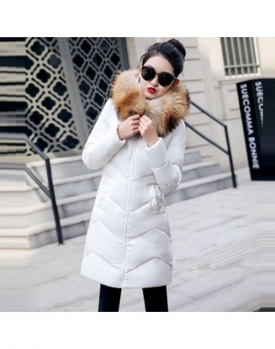 New white Parkas Female Jacket Winter Coat Women Thicken Cotton Jacket Parkas for Women Winter Warm Down jacket Fake fur col...