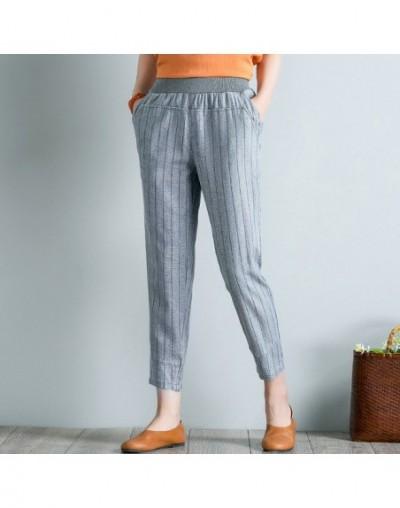 Spring Summer Women Striped Elastic Waist Pants Plus Size 4XL High Waist Casual Harem Pants Ankle-length Boho Trousers Pocke...
