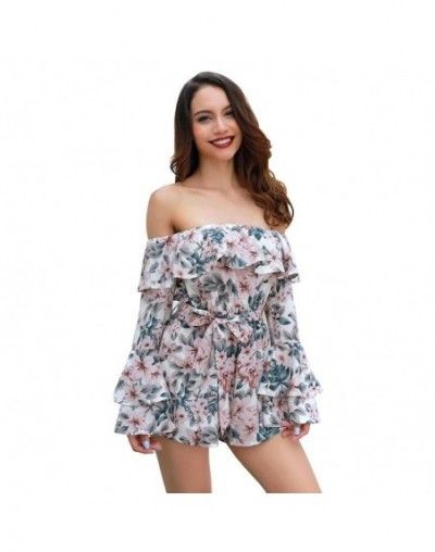 New Summer Women Flower Print Jumpsuit Sexy Off Shoulder Long Sleeve Ruffles Loose Fashion Casual Female Printing Playsuits ...