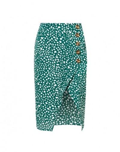 High Waist Split Midi Skirts Women Button Green Leopard Dot Print Casual Chic Summer Skirt Sexy High Fashion Boho Skirt - Gr...