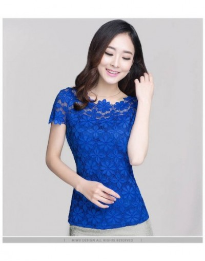 new 2018 fashion lace women shirts blouses Short Sleeve sexy hollow out Women's Clothing plus size 5XL women tops blusas 963...