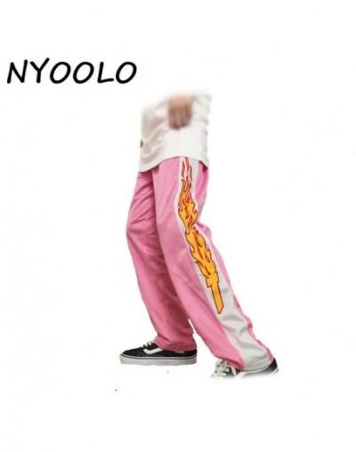 Korea design hot sale novelty flame Print Harajuku loose casual Straight pants women and men elastic waist hip hop pants - P...