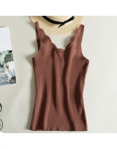 Sexy Women Lace Camisole Splicing Double V-neck Vest Plain Slim Sling Camis Solid Colors - Khaki - 4C3012880139-5