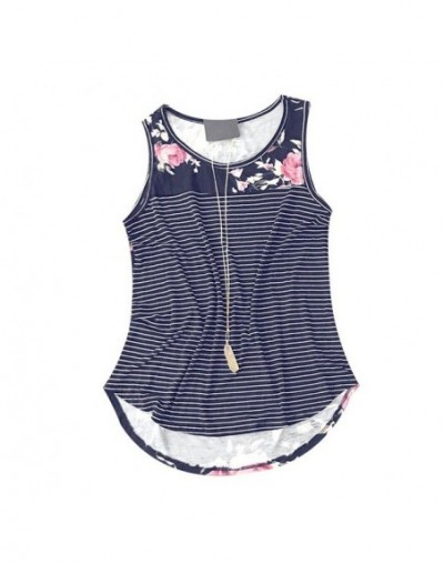 Women Tank Tops O Neck Sleeveless Floral Print Top Summer 2018 Casual Vest Loose Female Fashion Pretty Splicing Tee - Navy B...