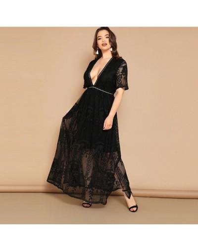Plus Size Black Eyelet Lace Insert Plunge Neck Mesh Overlay Dress 2019 Women Summer Glamorous Deep V Neck High Waist Dress -...