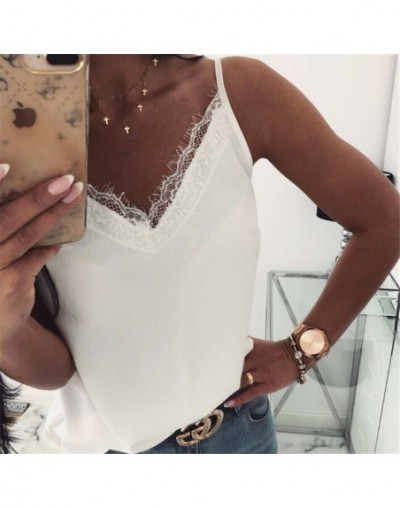 Trendy Women clothes Ladies Backless V-neck strap T-Shirts sleeveless pullover Summer Beach Loose Tops one pieces - White - ...